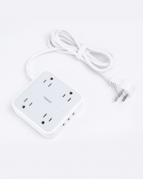 Flat Plug Power Strip with USB and 4 Widely Outlets