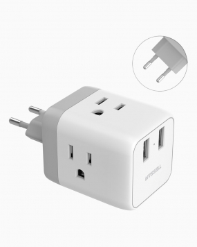 European Travel Adapter with 3 Outlets 2 USB Ports(Type C Plug)
