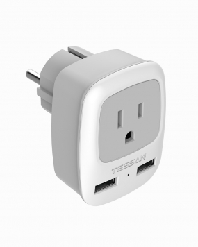 Schuko Germany France Travel Plug Adapter with 1 Outlets 2 USB Ports(Type E/F Plug)