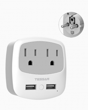 Schuko Germany France Travel Plug Adapter with 2 Outlets 2 USB Ports(Type E/F Plug)